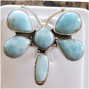 Genuine Caribbean Larimar Butterfly Ring